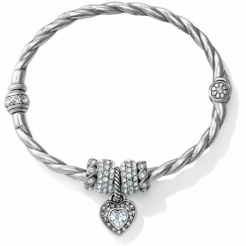Sparkle Heart Charm Bangle