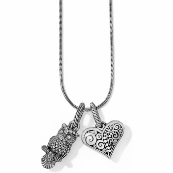 Wise Owl & Heart Charm Necklace