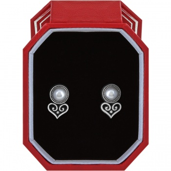 Alcazar Heart Pearl Post Earrings Gift Box Set