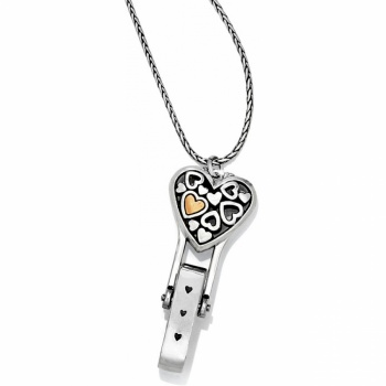 Badge Clips Floating Heart Badge Clip Necklace
