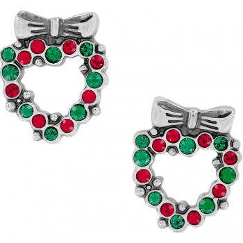 Holiday Cheer Heart Wreath Mini Post Earrings