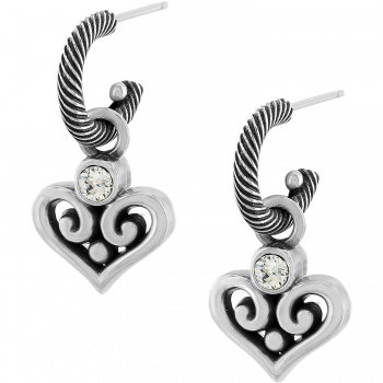 Alcazar Alcazar Heart Hoop Drop Earrings