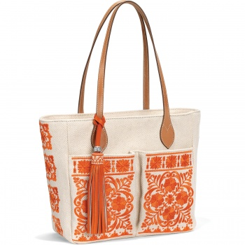 Coralee Embroidered Pocket Tote