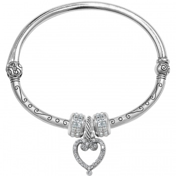 Open Heart Charm Bangle