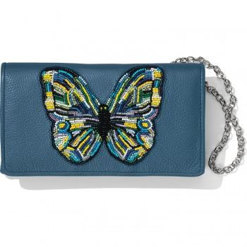 Crystal Pond Beaded Wings Clutch Wallet