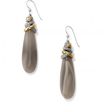 Neptune's Rings Pyramid Banded Agate French Wire Earrings
