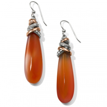 Neptune's Rings Pyramid Carnelian French Wire Earrings