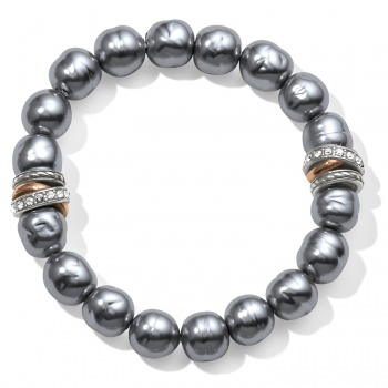Neptune's Rings Gray Pearl Stretch Bracelet