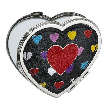 Fashionista Crazy Heart Bright Compact Heart Mirror