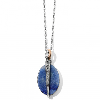 Neptune's Rings Oval Brazil Blue Quartz Reversible Short Necklace