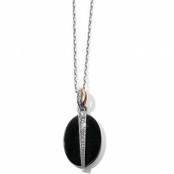 Neptune's Rings Oval Black Agate Reversible Short Necklace