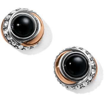 Neptune's Rings Black Agate Button Earrings