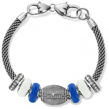 Football Blue And White Charm Bracelet