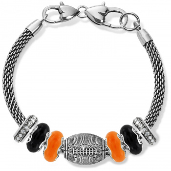 Football Black And Orange Charm Bracelet
