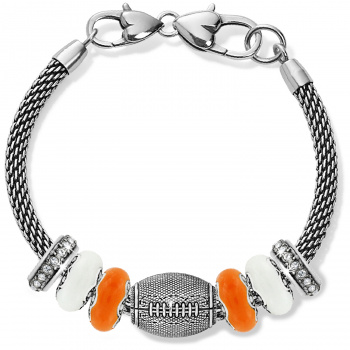 Football Orange And White Charm Bracelet