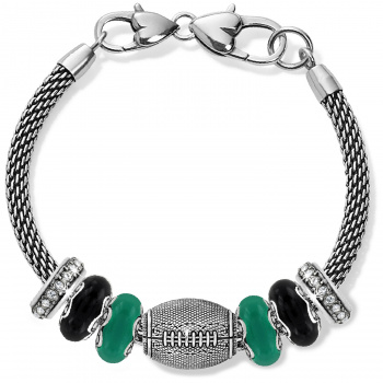 Football Green And Black Charm Bracelet