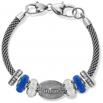 Football Blue And Silver Charm Bracelet