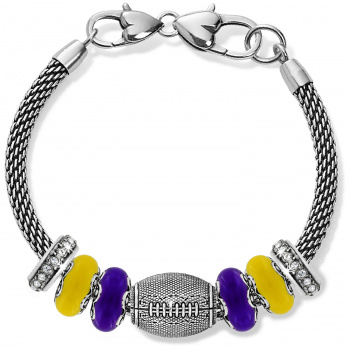 Football Yellow And Purple Charm Bracelet