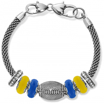 Football Yellow And Blue Charm Bracelet