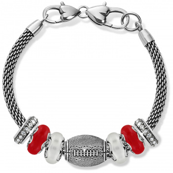 Football Red And Silver Charm Bracelet