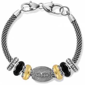 Football Black And Gold Charm Bracelet
