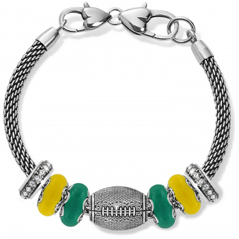 Football Yellow Gold And Green Charm Bracelet