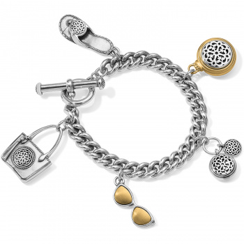Ferrara Ferrara Two Tone Toggle Charm Bracelet