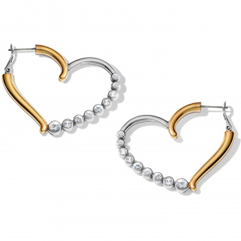 Sparkle Heart Leverback Hoop Earrings
