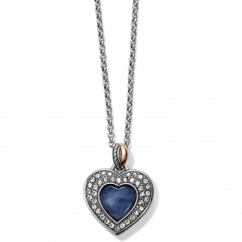 Neptune's Rings Brazil Blue Quartz Heart Reversible Necklace