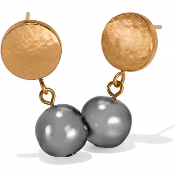 Mediterranean Gray Pearl Post Drop Earrings
