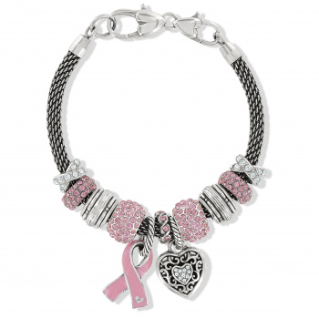 Power of Pink Ribbon Heart Bracelet