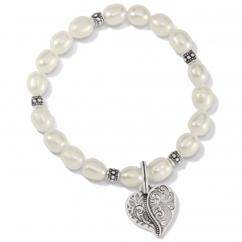 Ornate Heart Pearl Stretch Bracelet